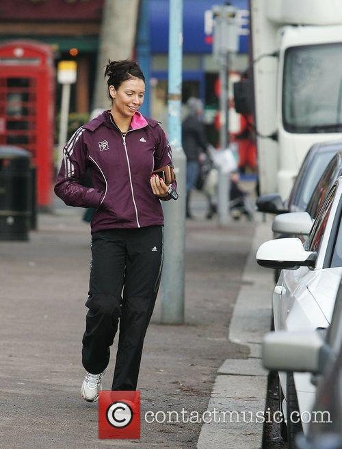A casually dressed Christine Bleakley getting her morning...