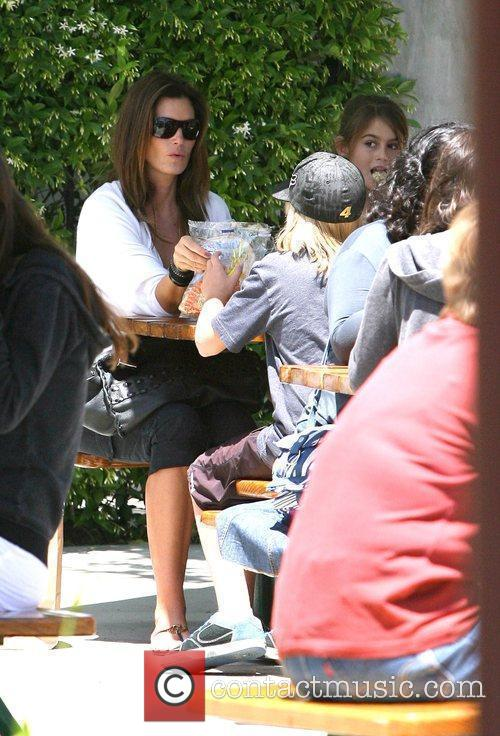 Cindy Crawford with her daughter Kaya and son...