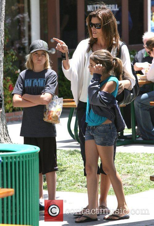 Cindy Crawford with her children Kaya and Presley...