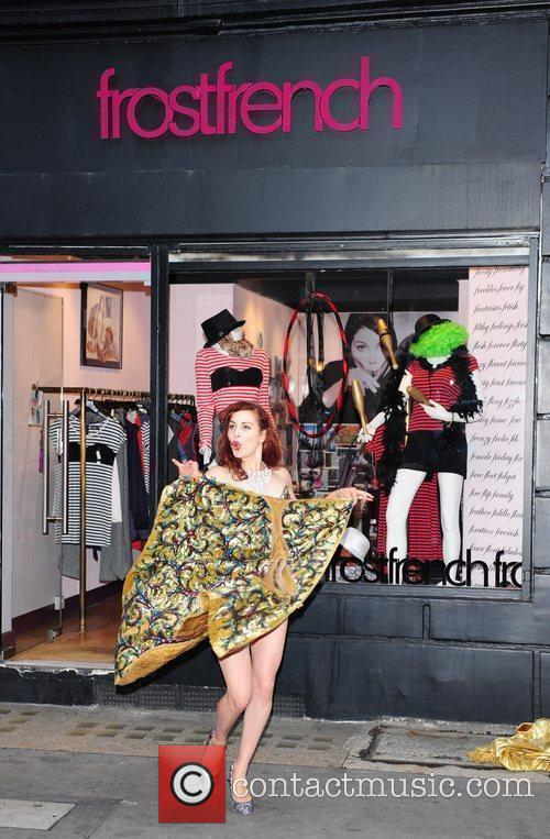 A Burlesque Performer Dances Outside The Cirque Du Frostfrench Party At The Frostfrench Store 9