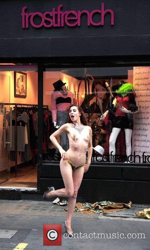 A Burlesque Performer Dances Outside The Cirque Du Frostfrench Party At The Frostfrench Store 10
