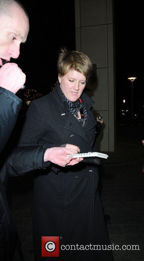 Clare Balding  signs autographs outside her hotel...