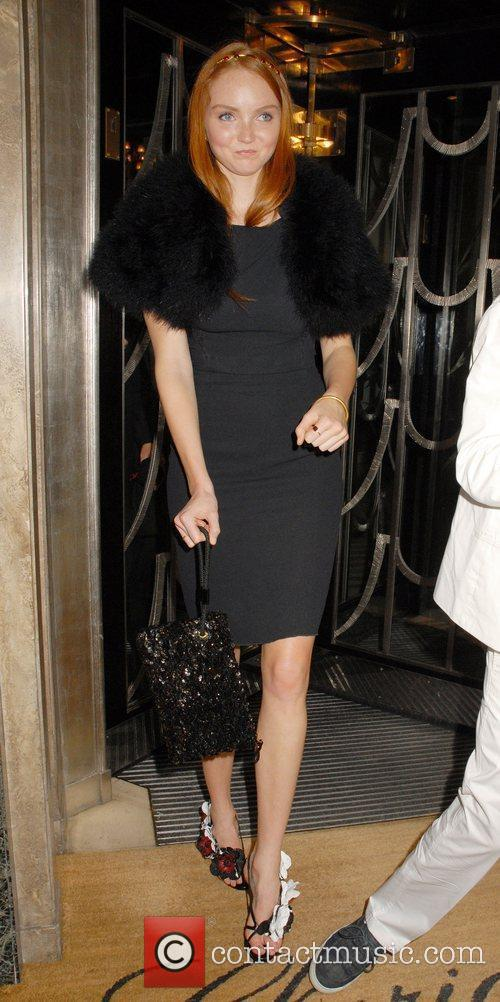 Lily Cole leaving Claridges in a fur like...