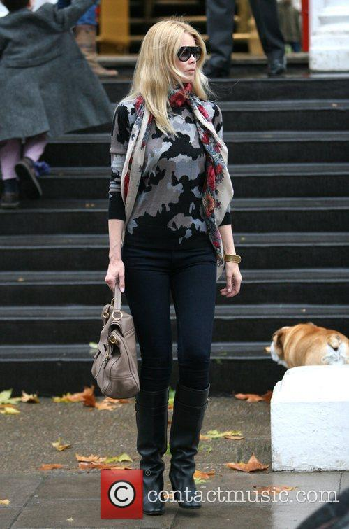 Claudia Schiffer takes her child to school