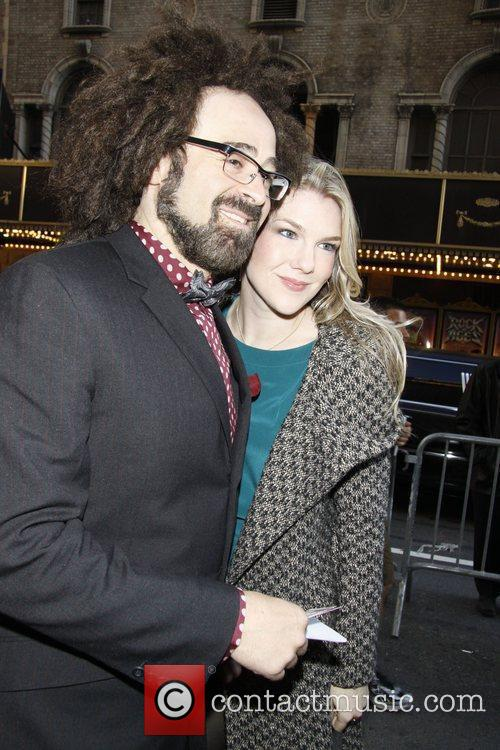 Adam Duritz poses with Lily Rabe Opening night...