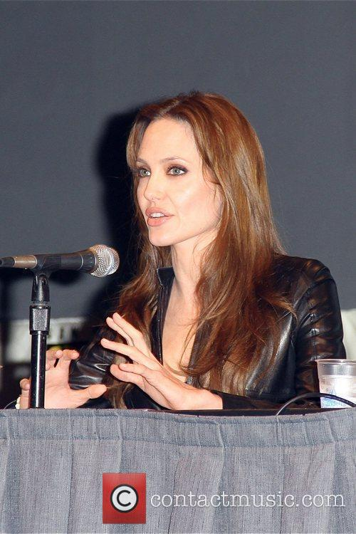 Angelina Jolie promoting the new film 'Salt' at...