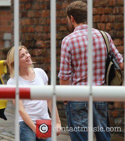 Jane Danson with a male companion 'Coronation Street'...