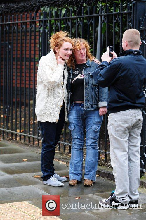 Jennie McAlpine with fans 'Coronation Street' stars arriving...