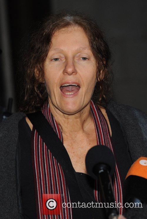 Mother of Julian Assange, Christine Assange, addresses members...