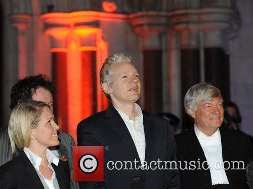 Julian Assange addresses members of the media at...