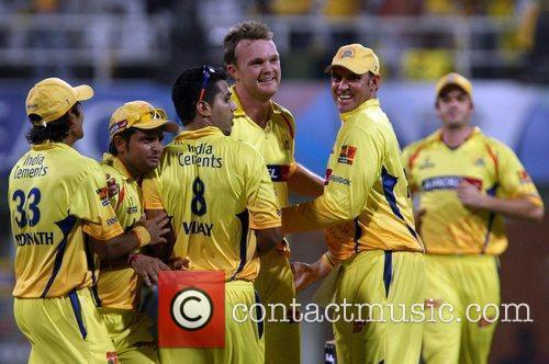 Of the Super Kings celebrate victory over the...