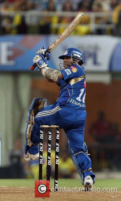 Plays a shot at the IPL 3 finals...