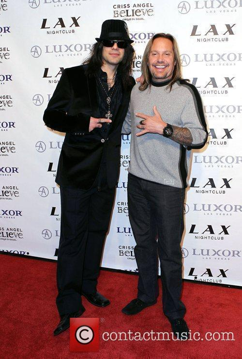 Criss Angel and Vince Neil Criss Angel celebrates...