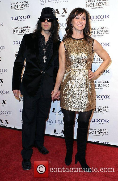 Criss Angel and Renee West Criss Angel celebrates...