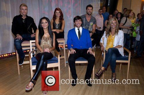 Nicole Scherzinger,,Evan Lysacek, Erin Andrews (front row) Derek...