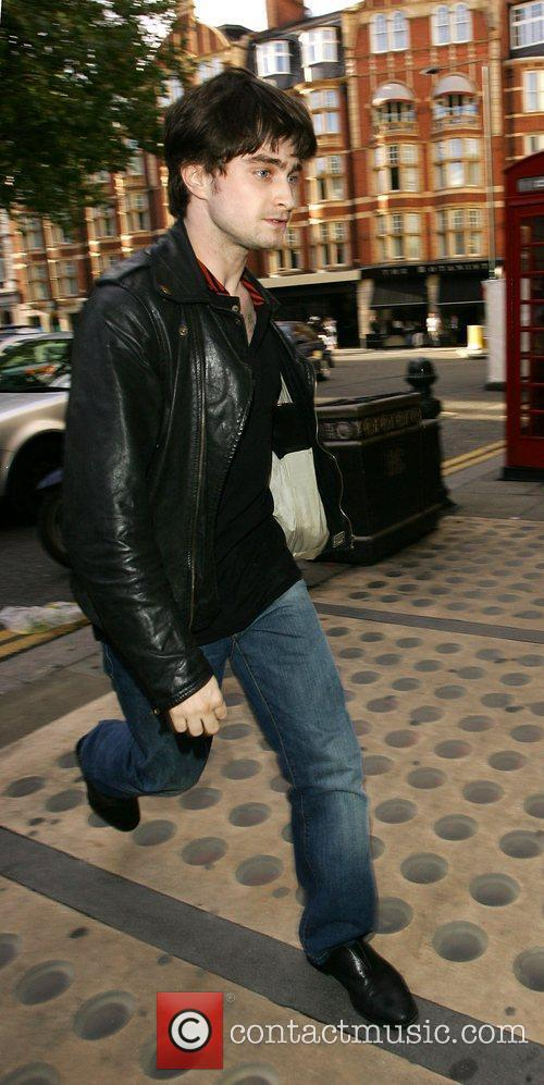 Daniel Radcliffe arriving at The Royal Court Theatre