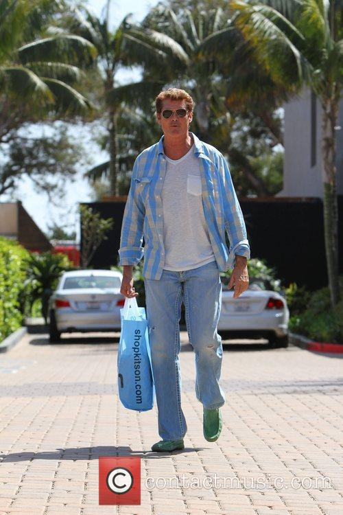 David Hasselhoff returns to his car after shopping...