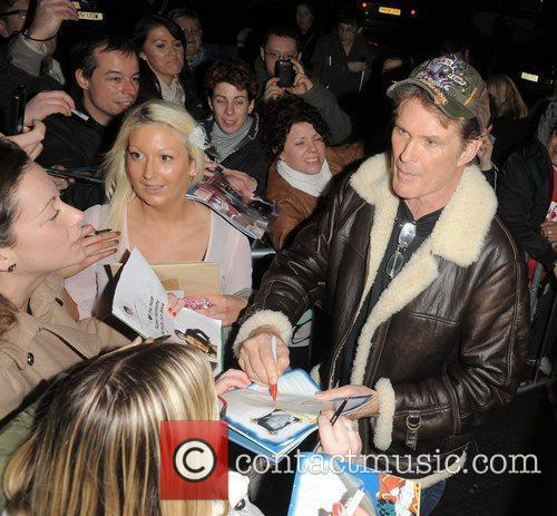 David Hasselhoff leaves the New Wimbledon Theatre for...