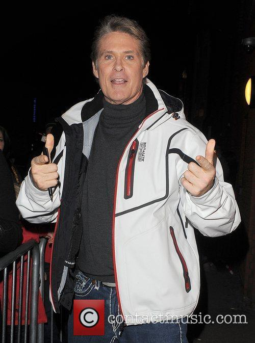 David Hasselhoff leaves the New Wimbledon Theatre, having...