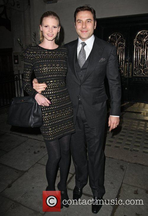 David Walliams and Lara Walliams leaving Scotts restaurant...