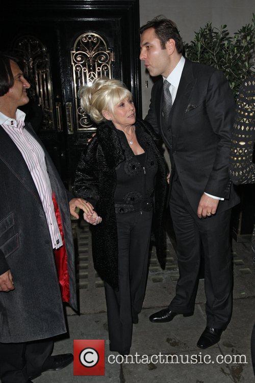 David Walliams kisses Barbara Windsor after leaving Scotts...