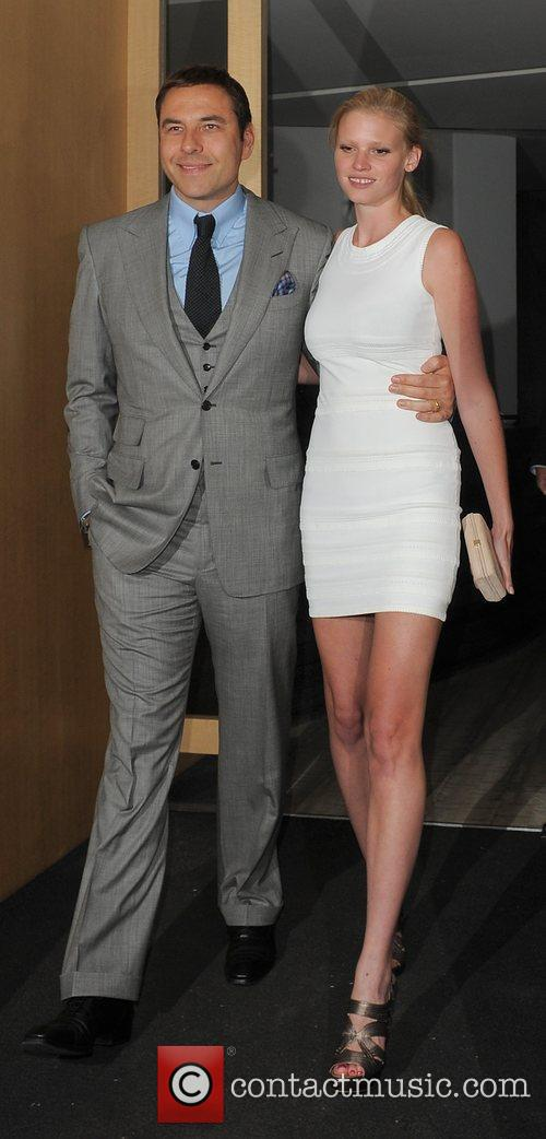 David Walliams and his wife Lara Stone leaving...