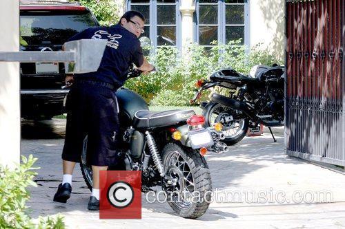 Outside Dean McDermott's house in Encino to drop...