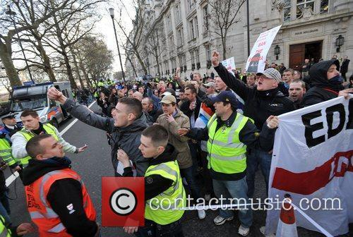 Protesters take to the streets of Westminster in...