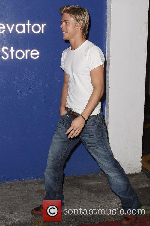 Derek Hough shopping at the Westfield Mall in...