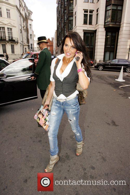 Lizzie Cundy outside the Dorchester Hotel London, England