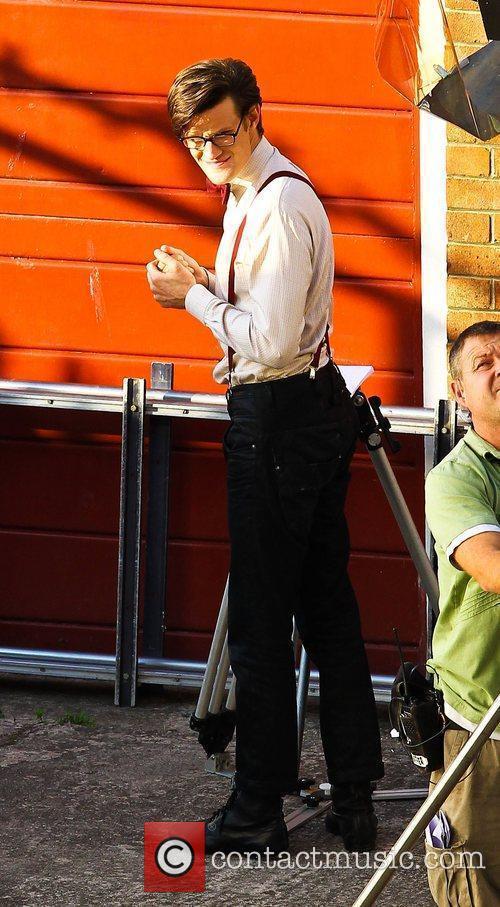 Matt Smith 'Dr Who' actors on set filming...