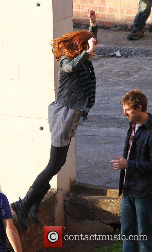 Karen Gillan and Arthur Darvill 'Doctor Who' filming...