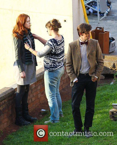 Karen Gillan and Matt Smith 'Doctor Who' filming...