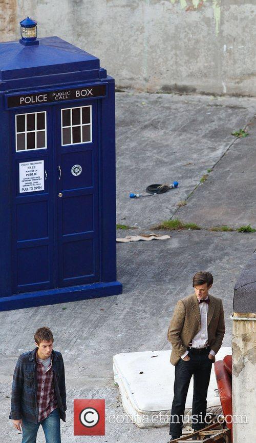 Arthur Darvill and Matt Smith 'Doctor Who' filming...