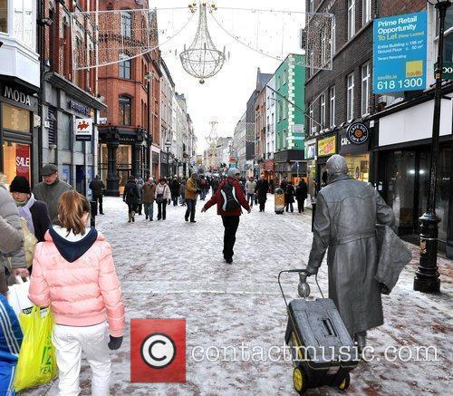 Grafton Street Freezing temperature and light dusting of...