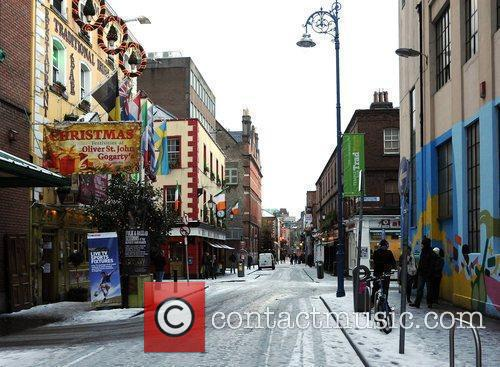 Temple Bar empty of tourists in the snow...