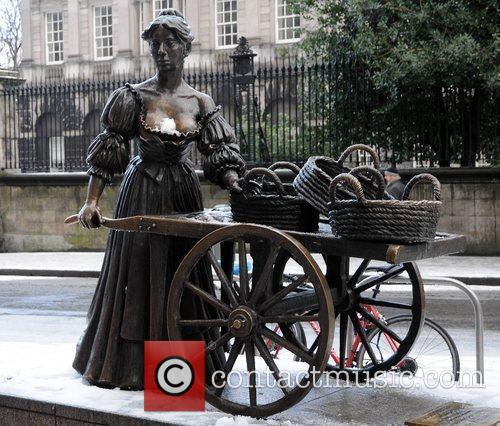 The Molly Malone statue in Grafton Street Freezing...
