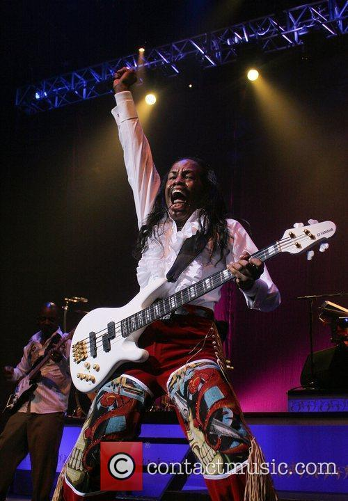 Verdine White of Earth, Wind and Fire performs...