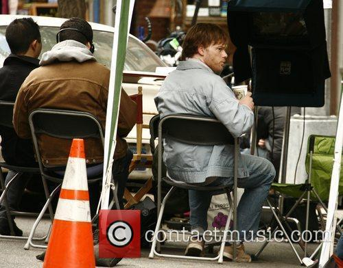 Michael C. Hall drinking a coffee before filming...