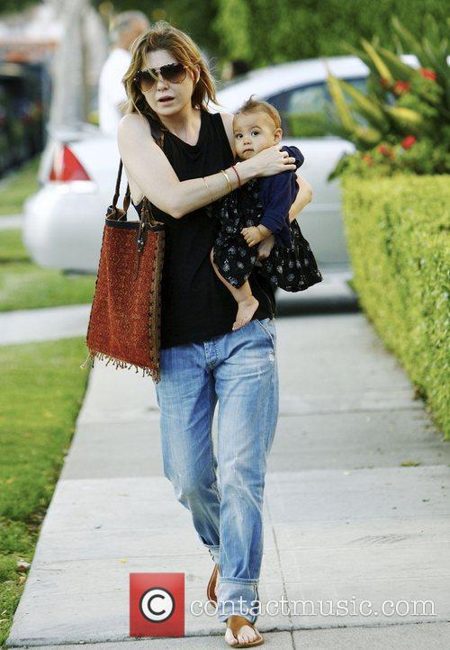 Ellen Pompeo with her daughter Stella Luna were...