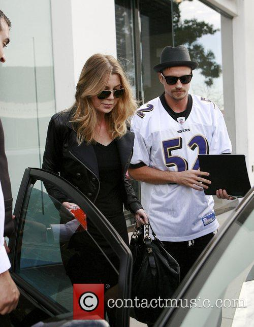 Actress Ellen Pompeo having lunch at Cafe Primo...