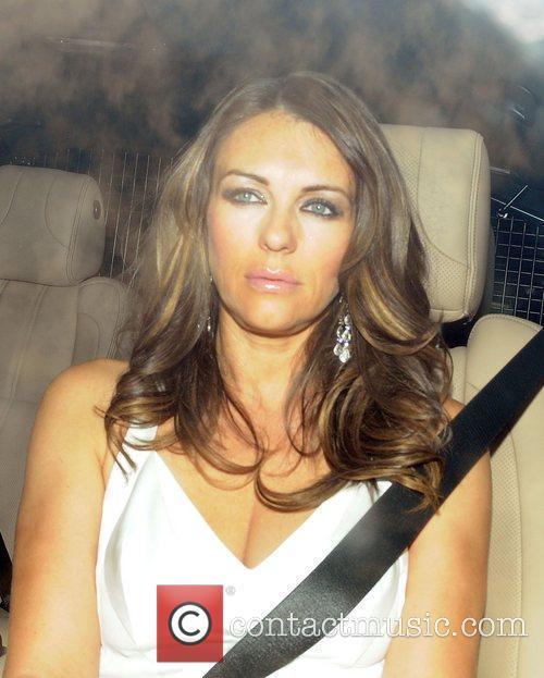 Elizabeth Hurley Celebrities arriving for Elton John's White...