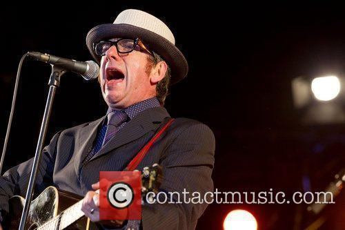 Elvis Costello and The Sugarcanes performing live at...
