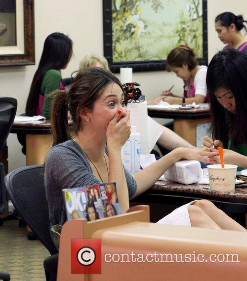 Getting her nails done in Beverly Hills