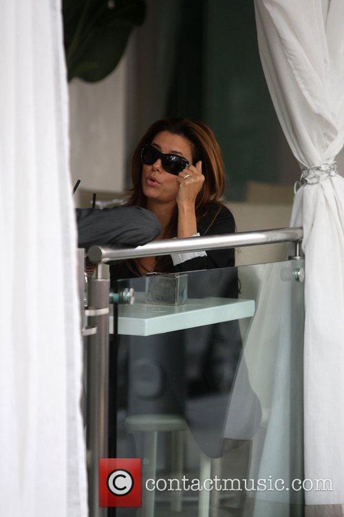 Eva Longoria having lunch at Villa Blanca Beverly...