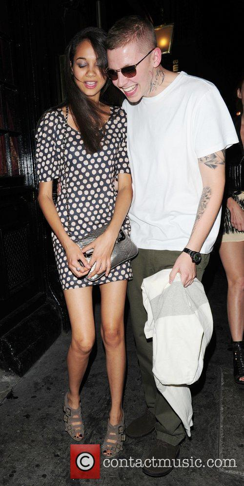 Professor Green and guest leaving 'The Expendables' after...