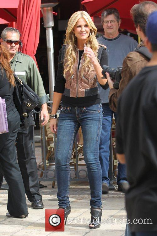 Nancy O'Dell  films an interview for the...