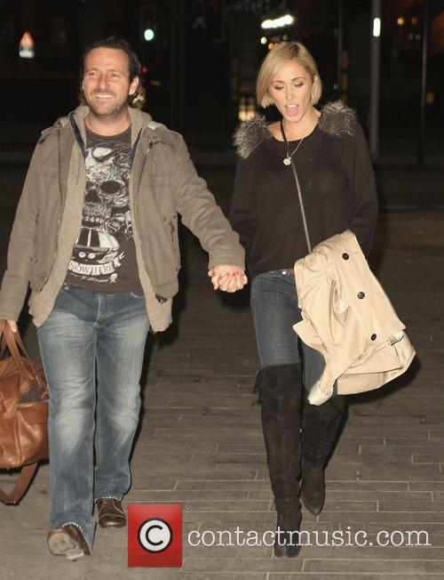 Jenny Frost returns to a hotel after filming...