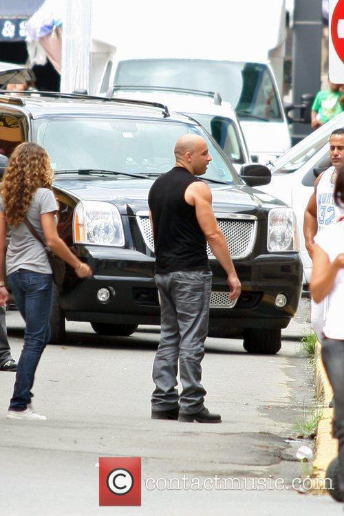 On the set of 'Fast Five'