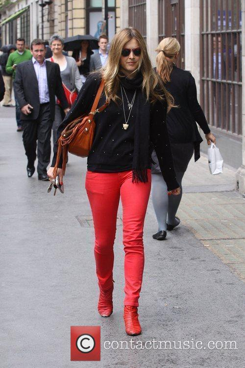 Leaving the BBC Radio 1 studios wearing red...